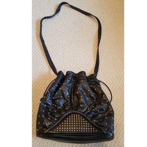 Black Gold Studded Bucket Bag